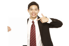 Man Pointing at Blank Message Stock Photo
