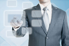 Man pointing on the blank virtual screen Royalty Free Stock Photo