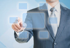 Man Pointing on the Blank Virtual Sscreen Royalty Free Stock Image