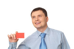 Man pointing at card Royalty Free Stock Photography