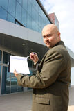 A man pointing a checklist Royalty Free Stock Photography