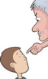 Man Pointing at Child. Old man pointing at child over white background Stock Photography