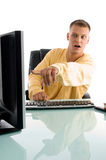 Man pointing on computer screen Stock Images