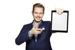 Man pointing at digital tablet Royalty Free Stock Photos