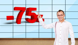 Man pointing at discount Royalty Free Stock Photography