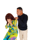 Man pointing finger at crying wife. Stock Photos