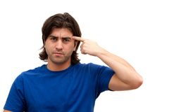 Man pointing finger at head Stock Photography
