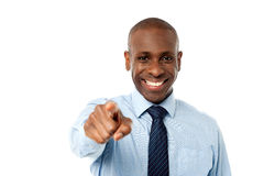 Man pointing a finger towards you Stock Photography