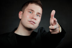 Man pointing a finger towards you Royalty Free Stock Photography