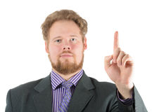 Man pointing the finger up Stock Photography