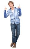 Man Pointing Fingers Up Royalty Free Stock Photos