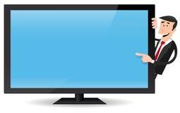 Man Pointing Flat Screen TV Stock Photos