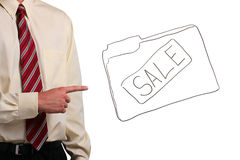 Man pointing at a folder Royalty Free Stock Images