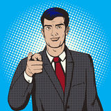 Man pointing forward finger pop art style vector Royalty Free Stock Photos
