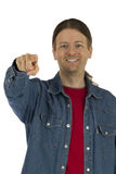 Man pointing forward his finger Stock Photo
