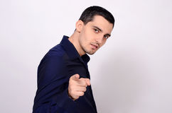 Man pointing in front at you. Stock Images