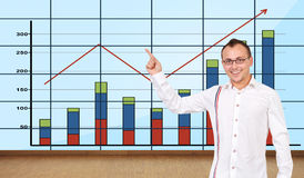 Man pointing at graph Stock Photos