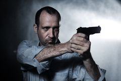 Man Pointing Gun Royalty Free Stock Photography