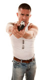 Man pointing handgun Royalty Free Stock Photography