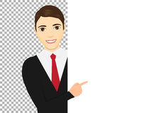 Man pointing her finger up. Male pointing around a sign. Royalty Free Stock Photos