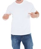 Man pointing at his blank white t-shirt Stock Photos