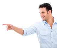 Man pointing with his finger Stock Image