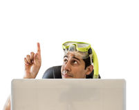 Man pointing his finger to copy space Royalty Free Stock Image
