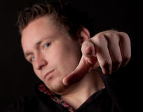 Man pointing his finger at you Stock Photo