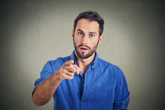 Man pointing his finger at you camera gesture stock photo