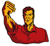 Man pointing his fist. Retro style vector art of a worker pointing his fist royalty free illustration