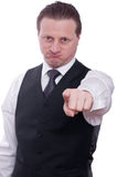 Man is pointing his forefinger forward Stock Image