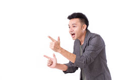 Man pointing his two hands up Royalty Free Stock Photos