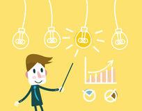 Man pointing at a Idea lightbulb with growth charts. Stock Images