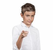 Man pointing index finger at you, skeptical Royalty Free Stock Images