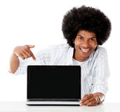 Man pointing at a laptop Royalty Free Stock Photography