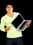 Man pointing at laptop Stock Photography