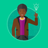 Man pointing at light bulb vector illustration. Royalty Free Stock Photo