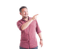 Man pointing and looking up Royalty Free Stock Photo