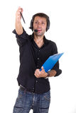 Man pointing at the mistakes Stock Photography