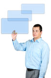 Man pointing with a pen on the monitor Royalty Free Stock Images