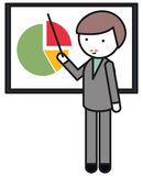 Man pointing at pie chart Stock Images