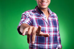 Man pointing or pushing imaginary button Royalty Free Stock Images
