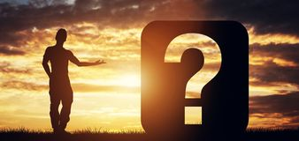 Man pointing at question sign Royalty Free Stock Photos