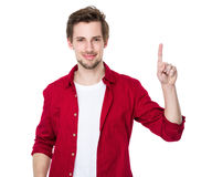 Man pointing showing copy space isolated on white background Royalty Free Stock Photos