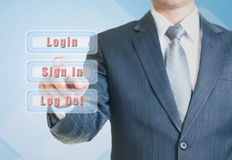 Man pointing the sign-in option Stock Images