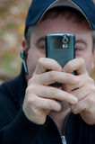 Man Pointing Smartphone Camera Stock Photo