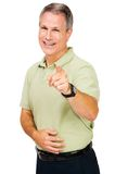 Man pointing and smiling. Isolated over white Royalty Free Stock Photography