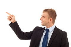 Man pointing on something Stock Image