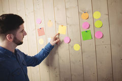 Man pointing at sticky notes Royalty Free Stock Photos