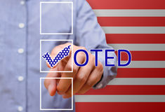 Man pointing tick mark, voting symbols ,presidential election royalty free stock photo